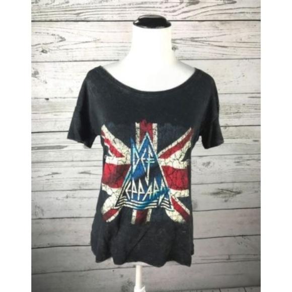 27d05b2da51 Def Leppard Tops - Def Leppard Black British UK Flag Hysteria T-Shirt